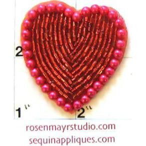 Heart with Red Beads Fuchsia Pearl 1.5""
