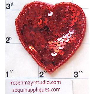 Heart with Red Flat Sequins and Beads in 3 Variants