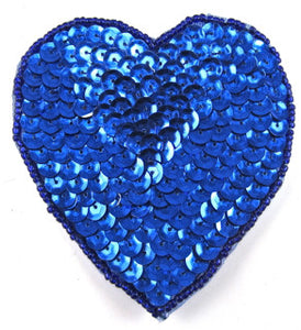 Heart with Royal Blue Cupped Sequins and Beads  in 3 Size Variants