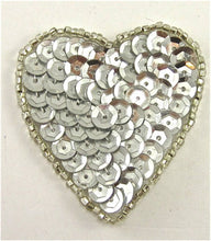 "Load image into Gallery viewer, Heart Silver Cupped Sequins in 2 Size Variants, 2"" & 3.25"""