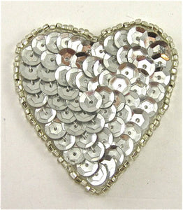 "Heart Silver Cupped Sequins in 2 Size Variants, 2"" & 3.25"""