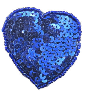 "DUPLICATE Heart Royal Blue in flat sequins 2"" x 2"""