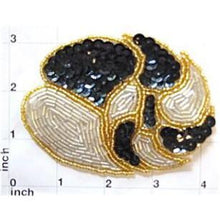 "Load image into Gallery viewer, Designer leaf pattern with Black Gold Silver Sequins and Beads 3"" x 4"""