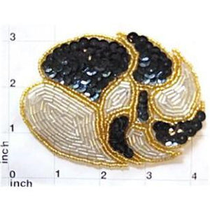 "Designer leaf pattern with Black Gold Silver Sequins and Beads 3"" x 4"""