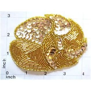 "Designer Motif with Leaf Pattern Gold Sequins and Beads 3"" x 4"""