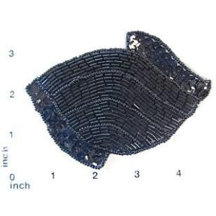"Designer Motif Wavy Pattern Black Sequins and Beads 3"" x 4.5"""