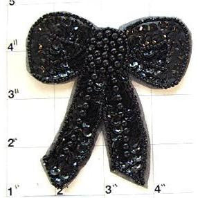 "Bow Black Sequins and Beads 4"" x 3.5"""