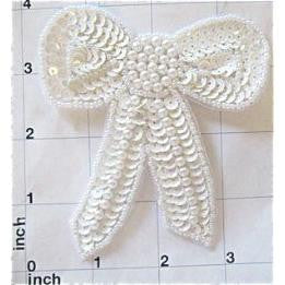 "Bow with White Sequins and Beads 4"" x 3.5"""