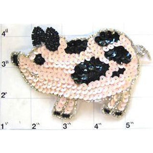 "Pig with Pink and Black Sequins and Beads 3"" x 5.5"""