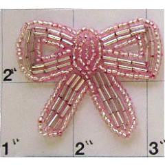 Bow Light Pink Beads 1.75""