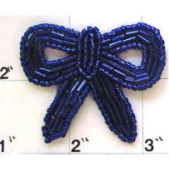Bow with Royal Blue Beads 1.75""