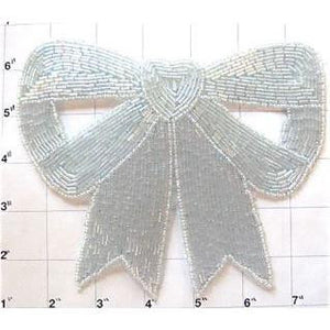 "Bow with Ivory Bluish Beads 5.5"" x 7.5"""