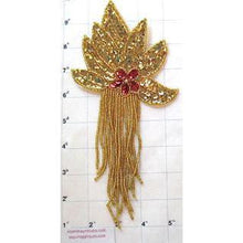 "Load image into Gallery viewer, Epaulet Gold with Red Center Sequin and Beads 8.5"" x 4"""