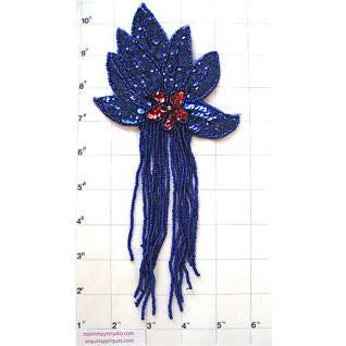 "Epaulet with Royal Blue with Red Center Sequins and Beads 8.5"" x 4"""