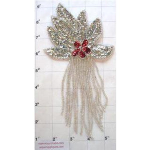 "Epaulet Silver with Red Center Sequin and Beads 8.5"" x 4"""