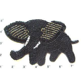"Elephant Black with Gold Beads  6.5"" x 4"""