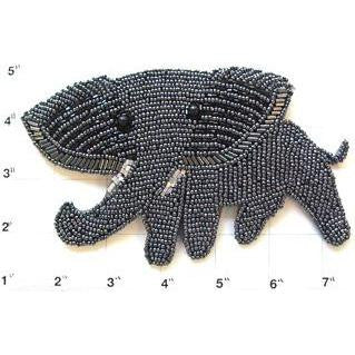 "Elephant with Gun Metal Beads 6.5"" x 4"""