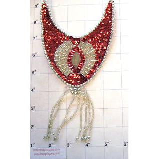 "Epaulet Red and Silver 9"" x 4.25"""