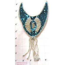 "Load image into Gallery viewer, Epaulet Teal and Silver Sequin 9"" x 4.5"""