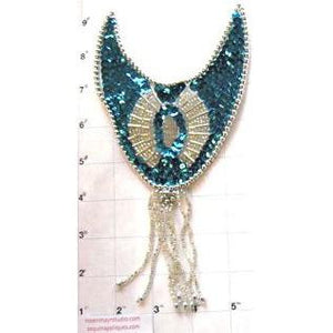 "Epaulet Teal and Silver Sequin 9"" x 4.5"""