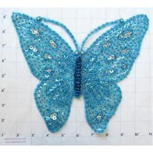"Load image into Gallery viewer, Butterfly with  Turquoise Sequin and Beads and Rhinestone Eyes 10.5"" X 9"""