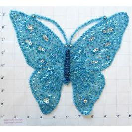 "Butterfly with  Turquoise Sequin and Beads and Rhinestone Eyes 10.5"" X 9"""