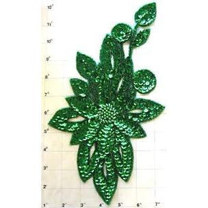 "Flower with Green Sequins and Beads 11"" x 6"""