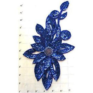 "Flower Royal Blue Sequins and Beads 11.5"" x 6.5"""
