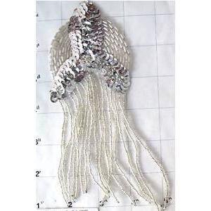 "Epaulet with Silver Beaded Fringe  6.5"" x 3"""