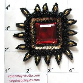Designer Motif Crest with Black and Red Jewels 3""