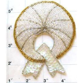 Motif Circle Bow with Gold Trim