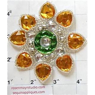 Designer Motif Jewel with Yellow and Green Stones 3.5""