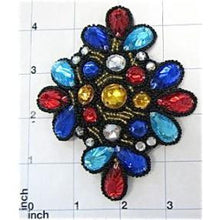 "Load image into Gallery viewer, Designer Motif Jewel with Multi-Colored Stone 4.5"" x 3.75"""