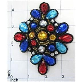 "Designer Motif Jewel with Multi-Colored Stone 4.5"" x 3.75"""