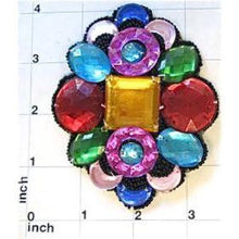 "Load image into Gallery viewer, Designer Motif Multi-Colored Jewel with Black Beaded Trim 4"" x 3.25"""