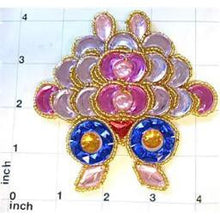 "Load image into Gallery viewer, Designer Motif Jewel with Pink Orchid Gold Blue Stones Gold Trim 3.25"" x 4"""