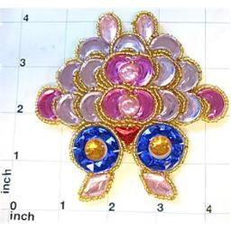 Designer Motif Jewel with Pink Orchid Gold Blue Stones Gold Trim 3.25