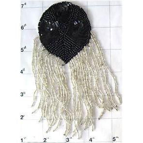 "Epaulet Black with Silver Fringe 6"" x 4"""