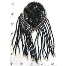 "Load image into Gallery viewer, Epualet Black Beads and Fringe with silver Beaded Trim 6"" x 4"""