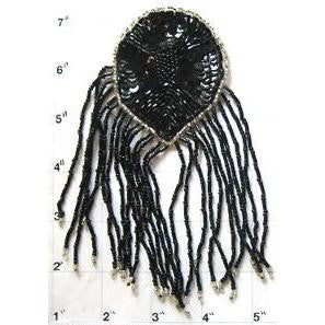 "Epualet Black Beads and Fringe with silver Beaded Trim 6"" x 4"""