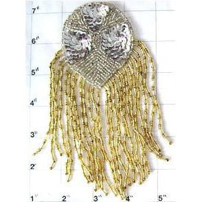 "Epaulet with Silver and Gold Sequins and Beads 6"" x 4"""