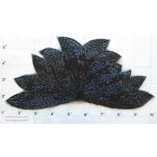 "Leaf  with all Black Beads 9"" x 5.5"""