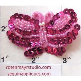 "Butterfly with Fuchsia Sequins and Beads 2.5"" x 1.5"""