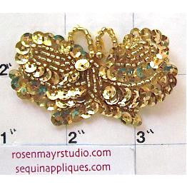 "Butterfly with Gold Sequins and Beads  2.5"" x 1.5"""