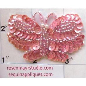"Butterfly with Pink Sequins and Beads 2.5"" x 1.5"""