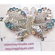 "Load image into Gallery viewer, Butterfly with Silver Sequins and Beads  2.5"" X 1.5"""