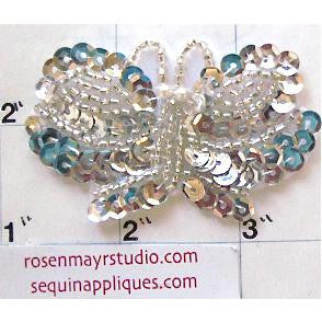 "Butterfly  with  Silver Sequins and Beads  2.5"" X 1.5"""