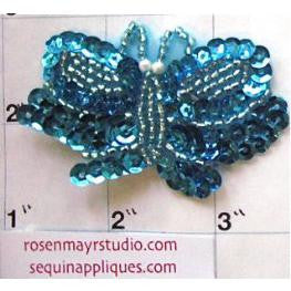 "Butterfly  with Turquoise Sequins and Beads 2.5"" x 1.5"""