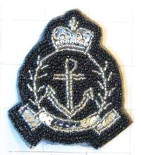 "Load image into Gallery viewer, Crest with Anchor, Black and Silver Sequin Beaded 3"" x 3"""