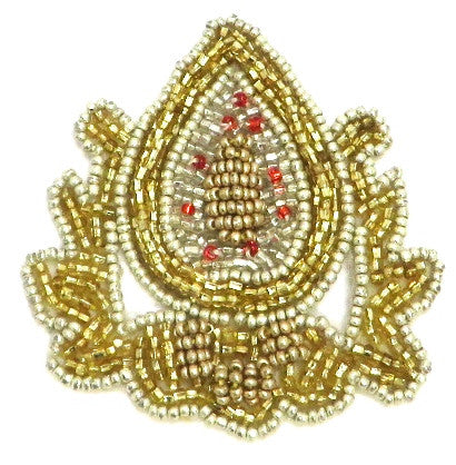 "10 PACK Crest with Gold Beads 3"" x 2"" - Sequinappliques.com"